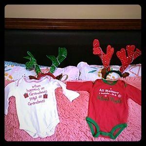 2  Christmas onsies 3-6 months